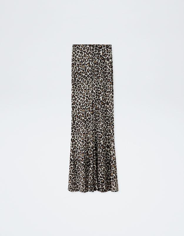 pantalon flare evasé leopard