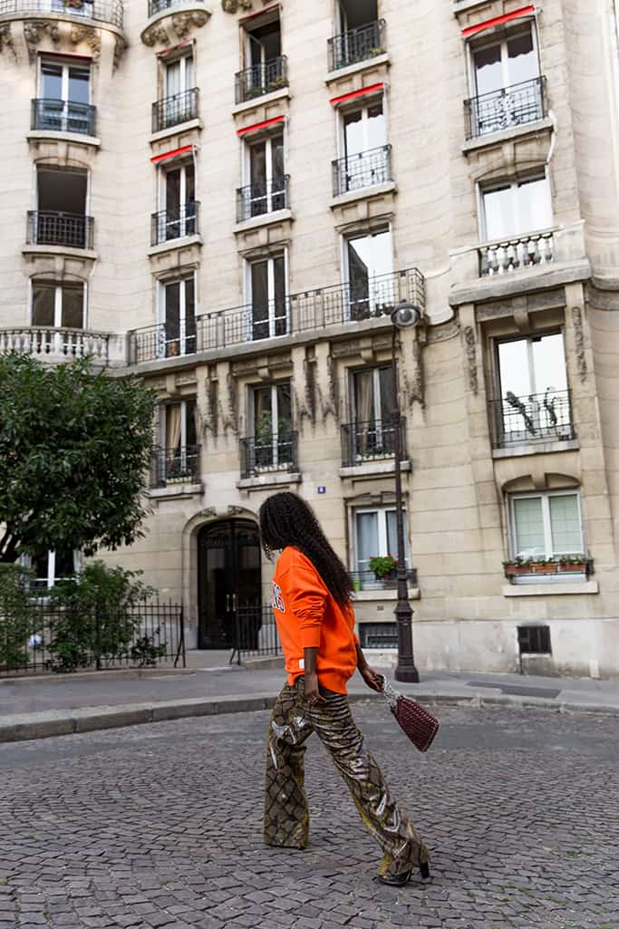 Blogueuse parisienne noire de mode