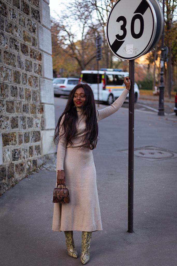 blog mode ensemble col roule et jupe beige
