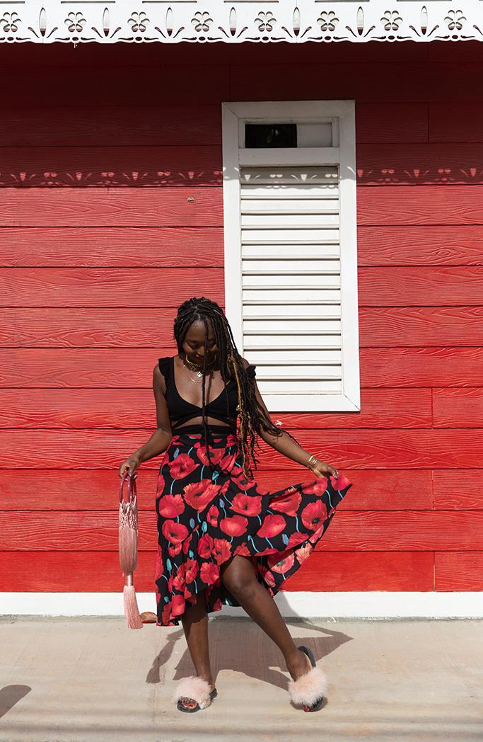 blog mode look de vacances avec jupe fleurie